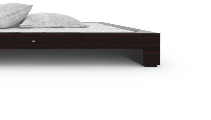 FELIX SCHWAKE BED I High Gloss Makassar Ebony Black Precious Wood Mirror Polish Piano Finish Nobel Designer Bed