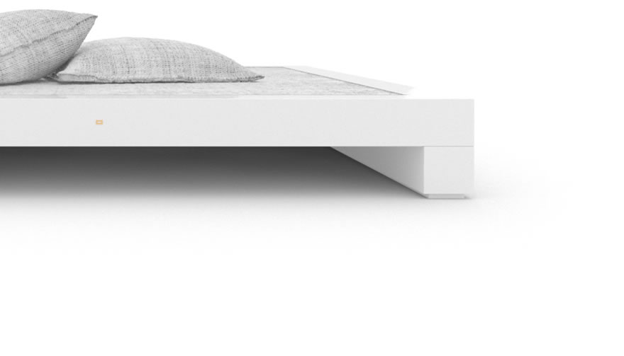 FELIX SCHWAKE BED I High Gloss White Lacquer Mirror polished Piano Finish Modern Designer Bed