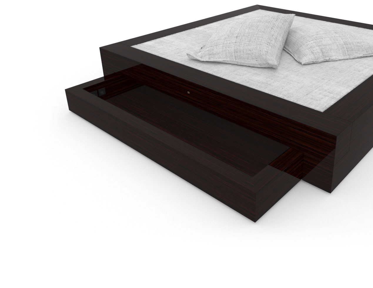 FELIX SCHWAKE BED I I 2 Under Bed Drarwers High Gloss Makassar Ebony Black Precious Wood Mirror Polish Piano Finish Customize Bed with Drawers