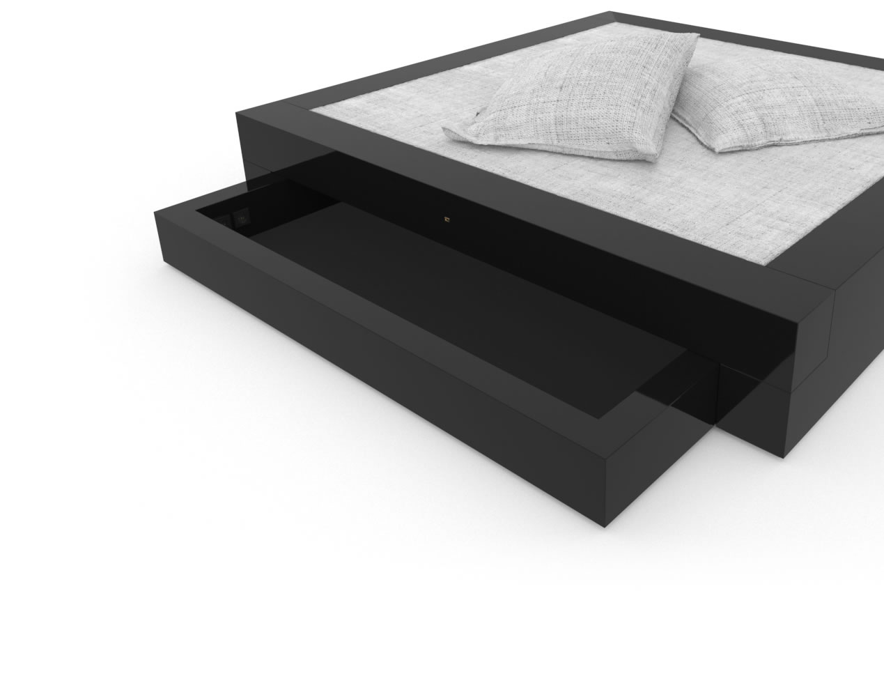FELIX SCHWAKE BED I I 2 Under Bed Drawers High Gloss Black Lacquer Mirror polished Piano Finish Tailor Bed with Drawers