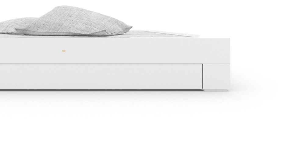 FELIX SCHWAKE BED I I 2 Under Bed Drawers High Gloss White Lacquer Mirror polished Piano Finish Modern Bed with Drawers