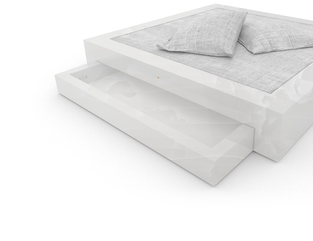 FELIX SCHWAKE BED I I 2 bed drawers onyx marble white modern bed with bed drawers
