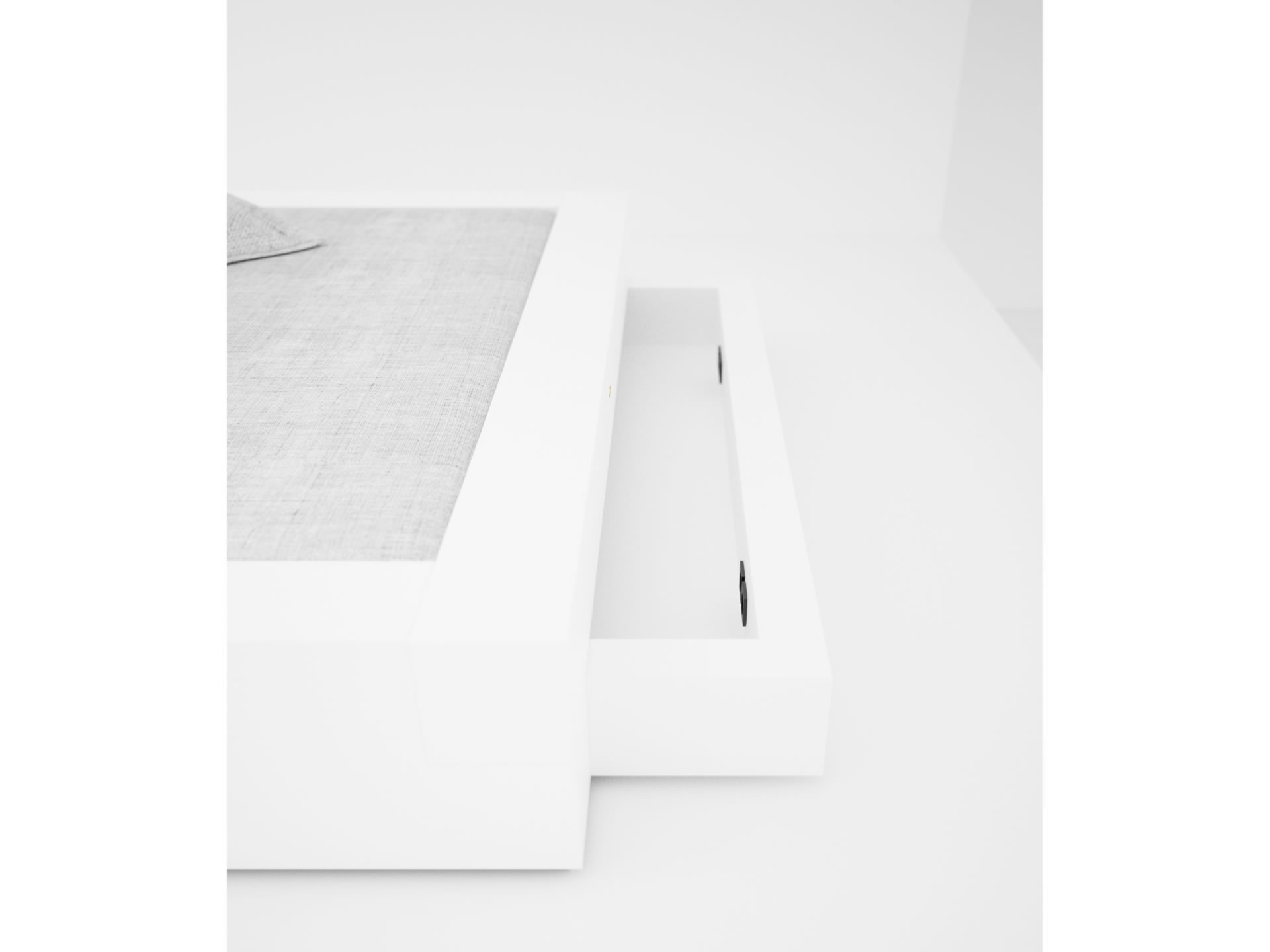 FELIX SCHWAKE BED I I Extraordinary White Bed with Drawers