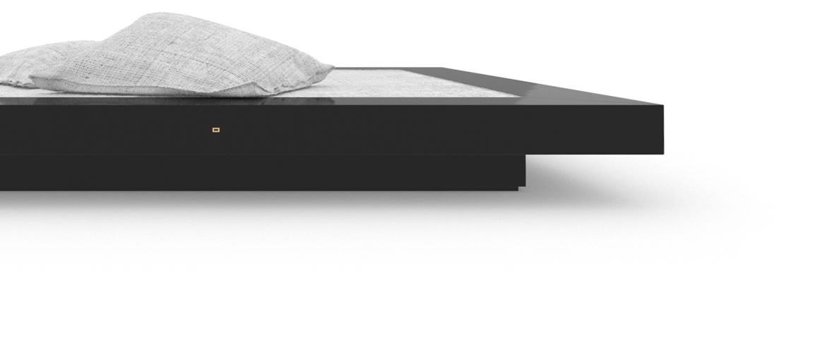 FELIX SCHWAKE BED II High Gloss Black Lacquer Mirror polished Piano Finish Cultivate Bed Floating