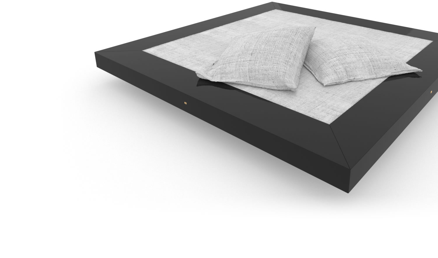 FELIX SCHWAKE BED II High Gloss Black Lacquer Mirror polished Piano Finish Tailor Bed Floating