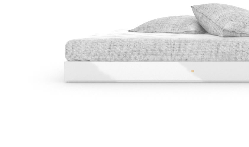 FELIX SCHWAKE BED IV High Gloss White Lacquer Mirror polished Piano Finish Modern Boxspring Bed