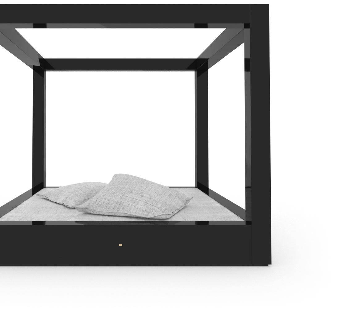 FELIX SCHWAKE BED V High Gloss Black Lacquer Mirror polished Piano Finish Cultivate Canopy Bed