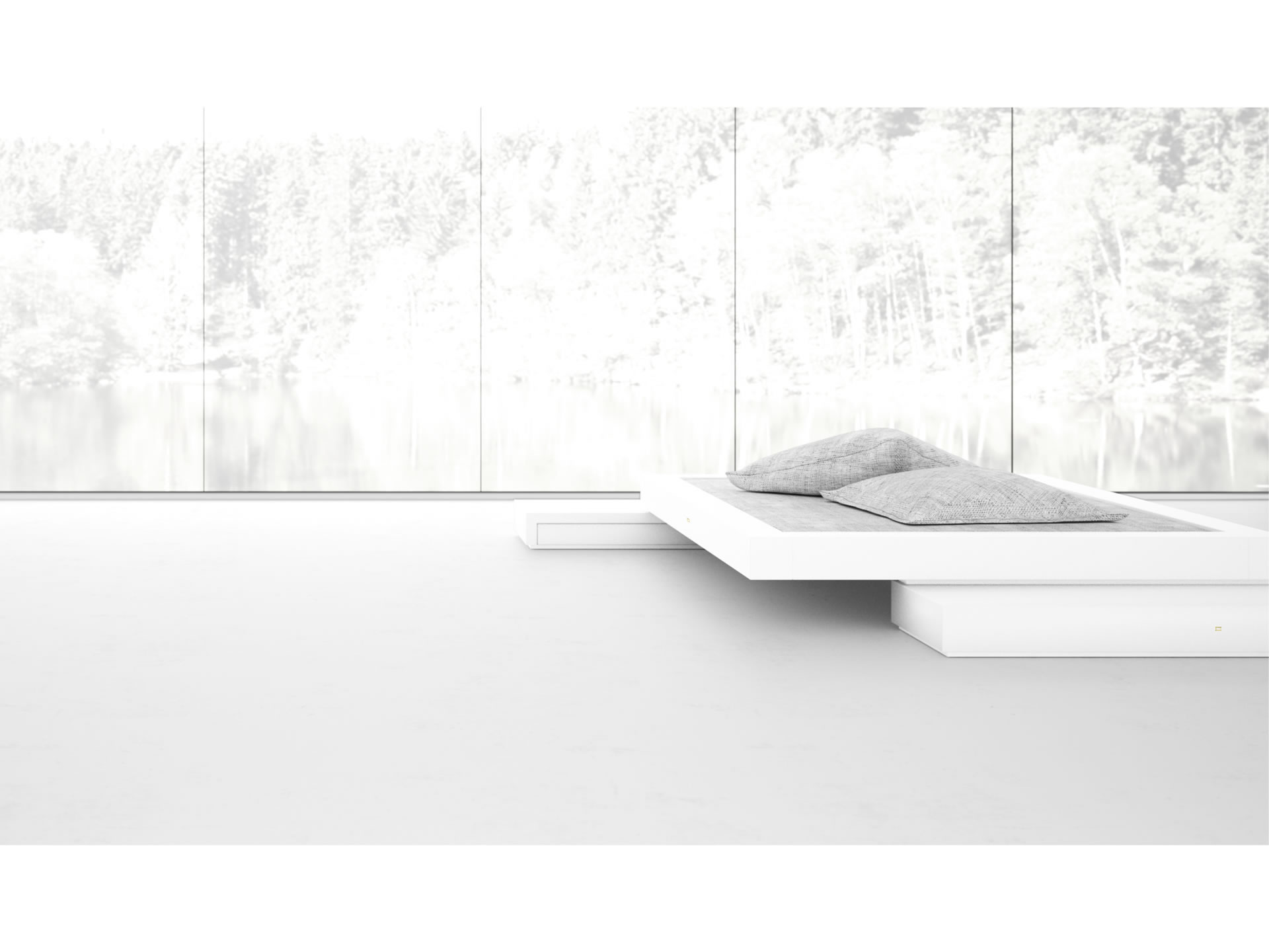 FELIX SCHWAKE BED VI Extraordinary White Stand Alone Bed