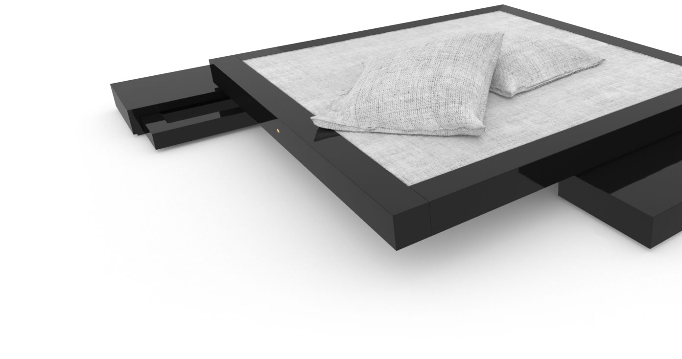 FELIX SCHWAKE BED VI High Gloss Black Lacquer Mirror polished Piano Finish Tailor Stand Alone Bed