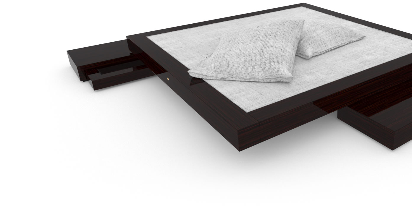 FELIX SCHWAKE BED VI High Gloss Makassar Ebony Black Precious Wood Mirror Polish Piano Finish Customize Stand Alone Bed