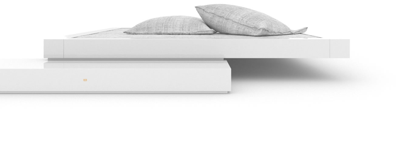 FELIX SCHWAKE BED VI High Gloss White Lacquer Mirror polished Piano Finish Modern Stand Alone Bed