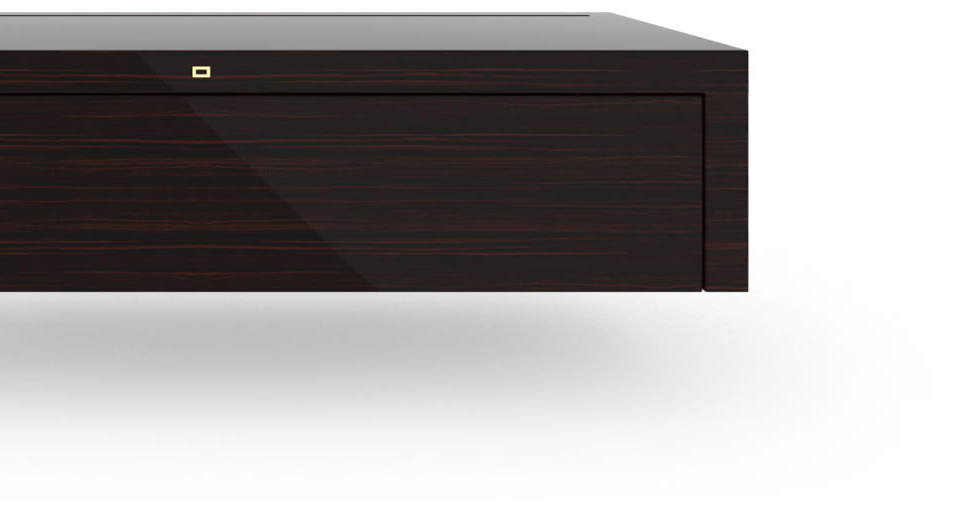 FELIX SCHWAKE CABINET I I High Gloss Makassar Ebony Black Precious Wood Mirror Polish Piano Finish Nobel Hifi Sideboard