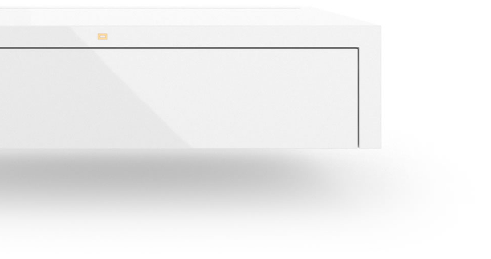 FELIX SCHWAKE CABINET I I High Gloss White Lacquer Mirror polished Piano Finish Modern Hifi Sideboard