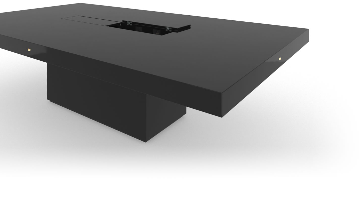 FELIX SCHWAKE CONFERENCE TABLE II I Meeting Table High Gloss Black Lacquer Mirror polished Piano Finish Grace Meeting Table