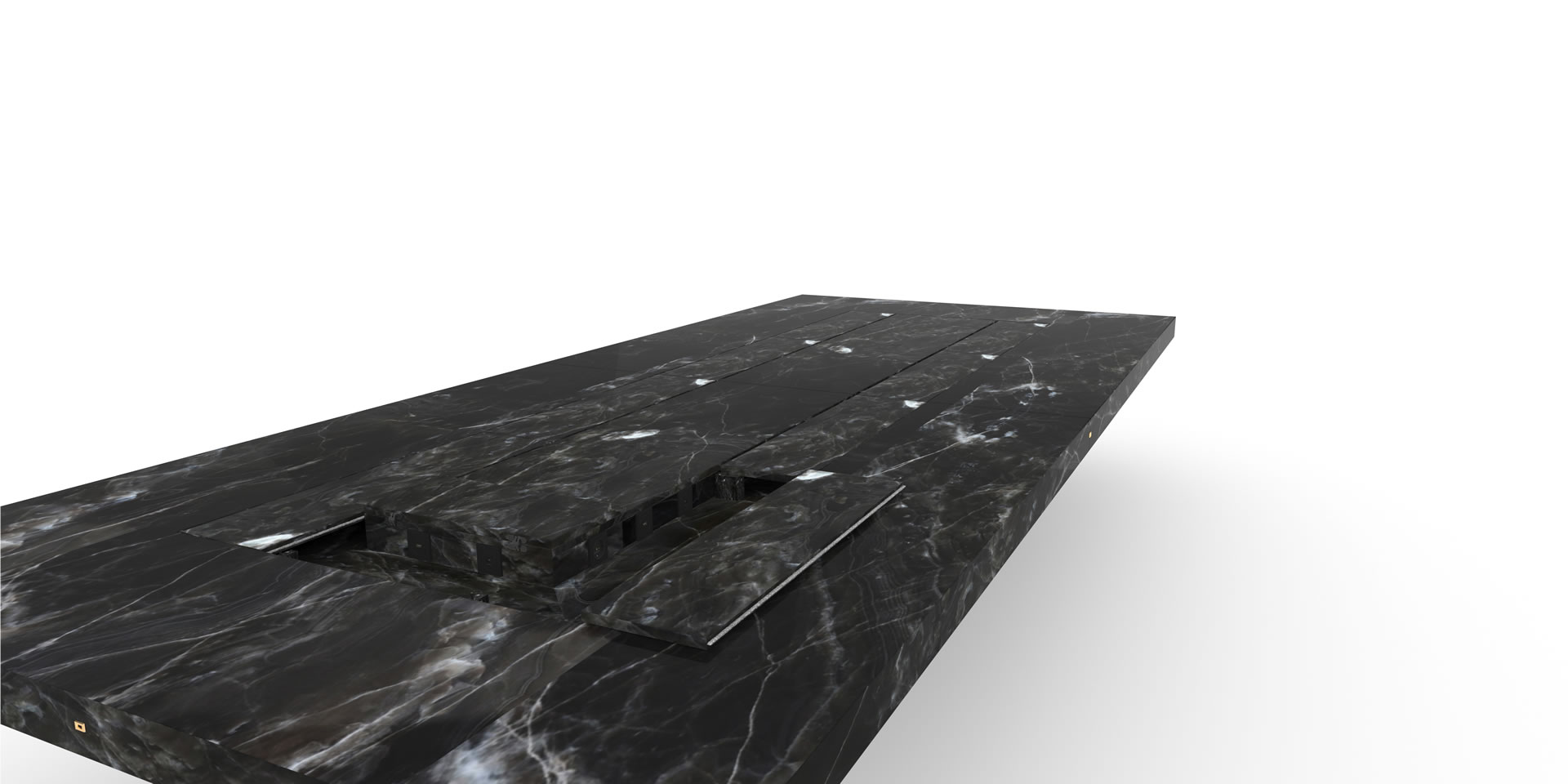 FELIX SCHWAKE CONFERENCE TABLE II V large Anlage marble black bespoke special edition Inside View