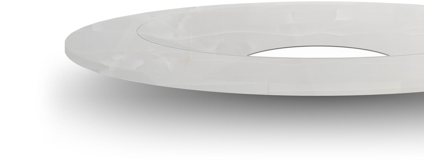 FELIX SCHWAKE CONFERENCE TABLE V Ring Structure High Gloss White Onyx Marble Minimalist Circular Boardroom Table Massive