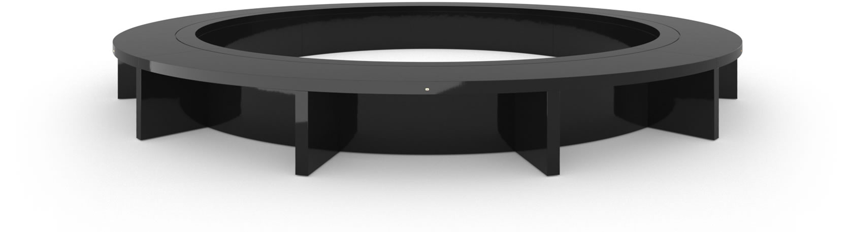 FELIX SCHWAKE CONFERENCE TABLE VI Ring Structure High Gloss Black Lacquer Mirror polished Piano Finish Cultivate Oval Boardroom System Huge