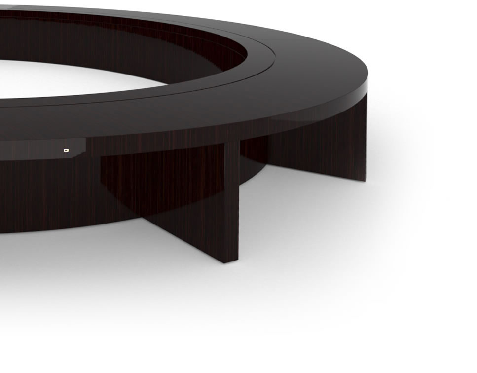 FELIX SCHWAKE CONFERENCE TABLE VI Ring Structure High Gloss Makassar Ebony Black Precious Wood Mirror Polish Piano Finish Customize Oval Boardroom System Huge