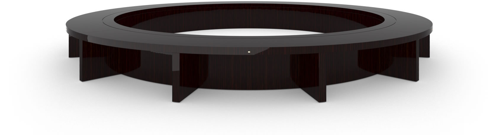 FELIX SCHWAKE CONFERENCE TABLE VI Ring Structure High Gloss Makassar Ebony Black Precious Wood Mirror Polish Piano Finish Nobel Oval Boardroom System Huge