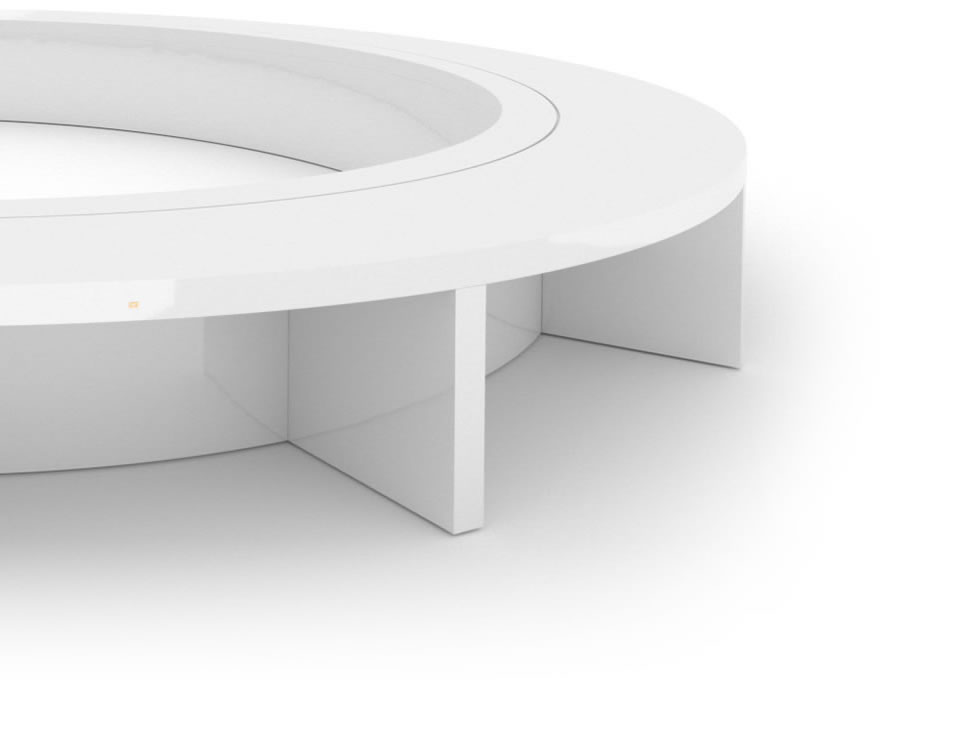 FELIX SCHWAKE CONFERENCE TABLE VI Ring Structure High Gloss White Lacquer Mirror polished Piano Finish Minimalist Oval Boardroom System Huge