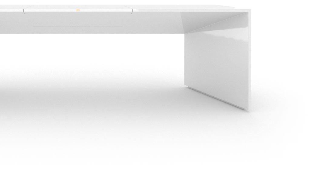 FELIX SCHWAKE DESK I High Gloss White Lacquer Mirror polished Piano Finish Modern Designer Desk with Extensible Desk Pad