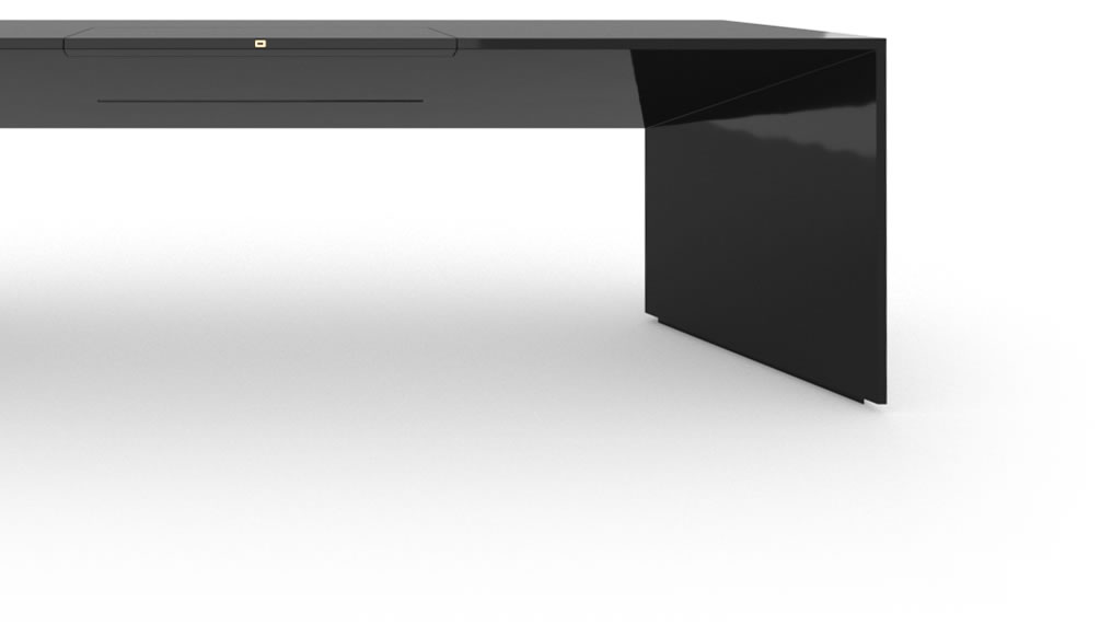 Felix Schwake Desk I Large High Gloss Black Lacquer Mirror Polished Piano Finish Elegant Designer