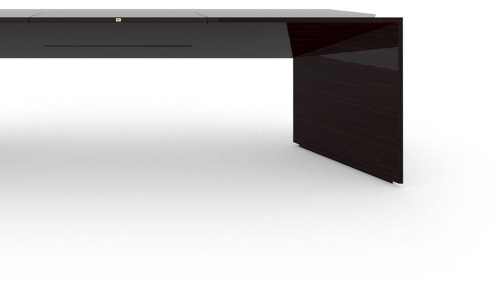 FELIX SCHWAKE DESK I I Large High Gloss Makassar Ebony Black Precious Wood Mirror Polish Piano Finish Nobel Designer Desk with Pull Out Desk Pad