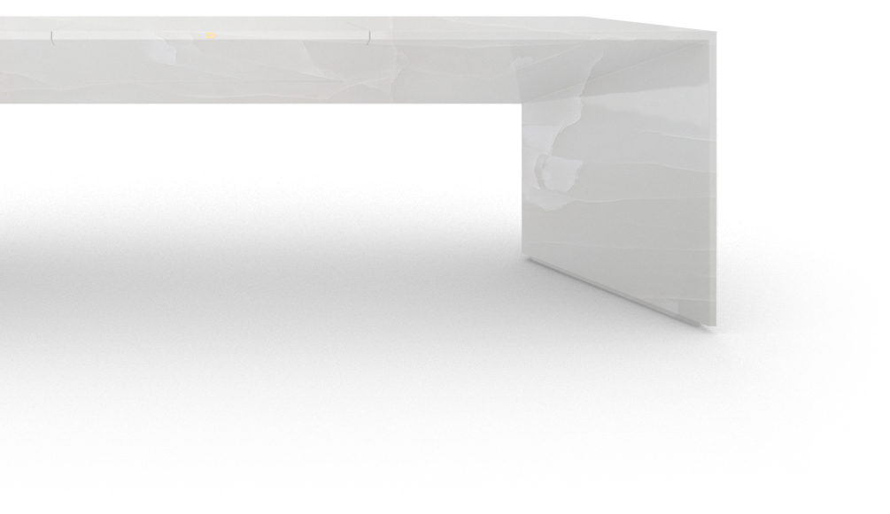 FELIX SCHWAKE DESK I I large onyx marble white purist design desk with excerp