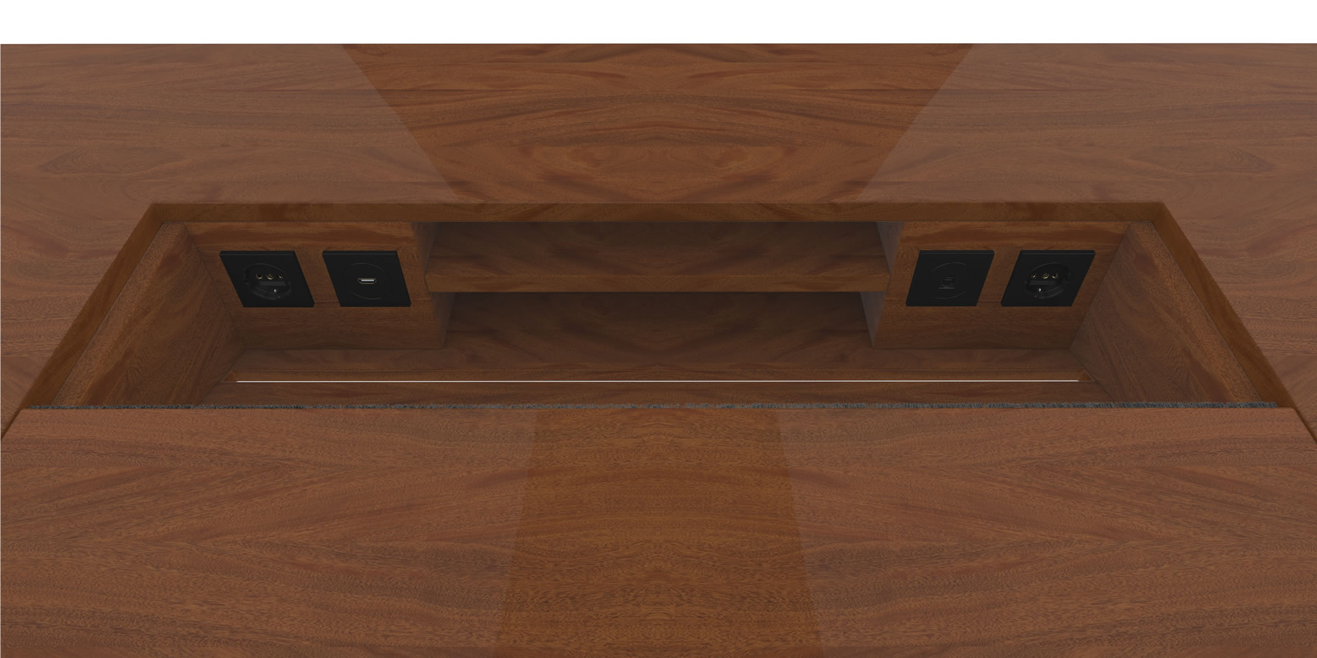 FELIX SCHWAKE DESK I Inside View precious wood mahogany customized bespoke Inside View