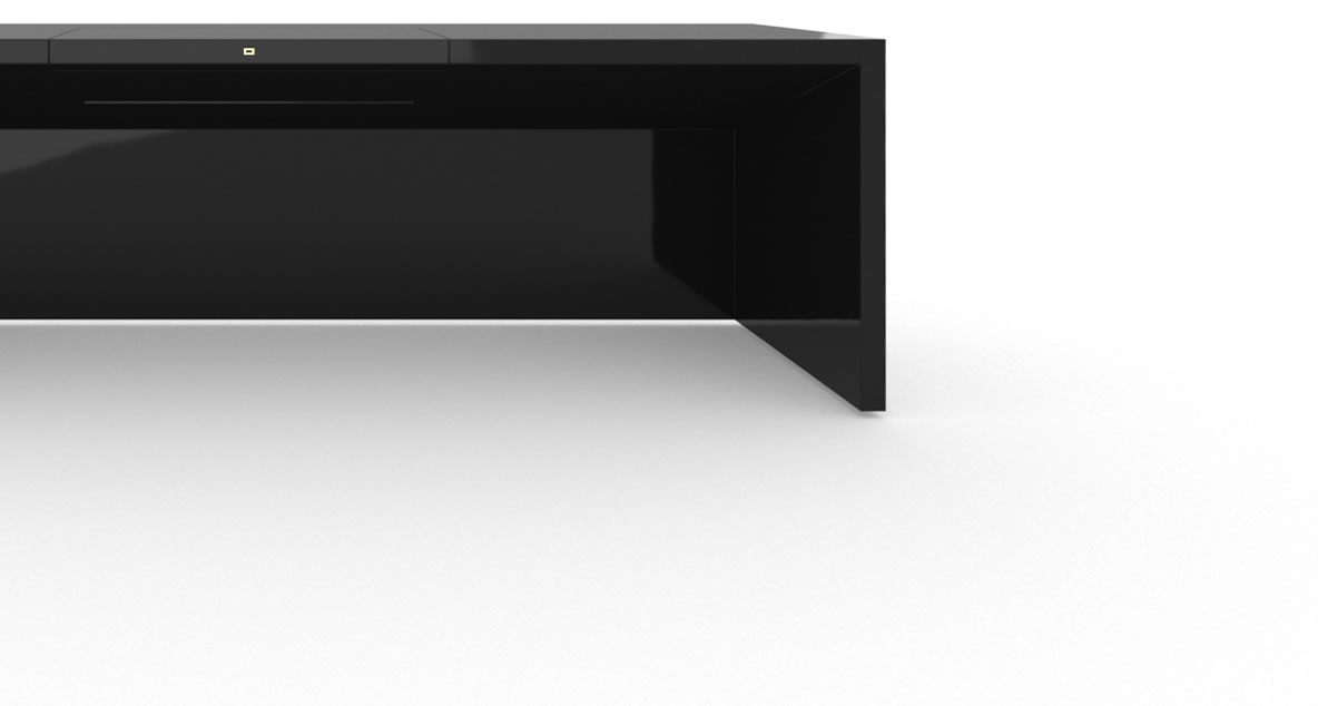 FELIX SCHWAKE DESK II High Gloss Black Lacquer Mirror polished Piano Finish Tailor Schreibtisch Desk Big with Closed Front