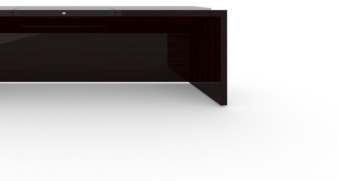 FELIX SCHWAKE DESK II High Gloss Makassar Ebony Black Precious Wood Mirror Polish Piano Finish Extraordinary Desk Big with Closed Front