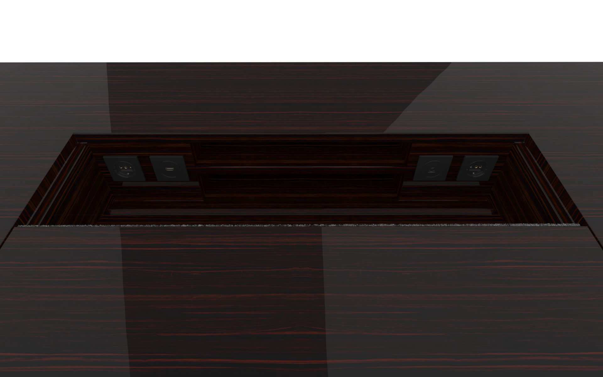 FELIX SCHWAKE DESK II High Gloss Makassar Ebony Black Precious Wood Mirror Polish Piano Finish Noble Desk Big with Closed Front