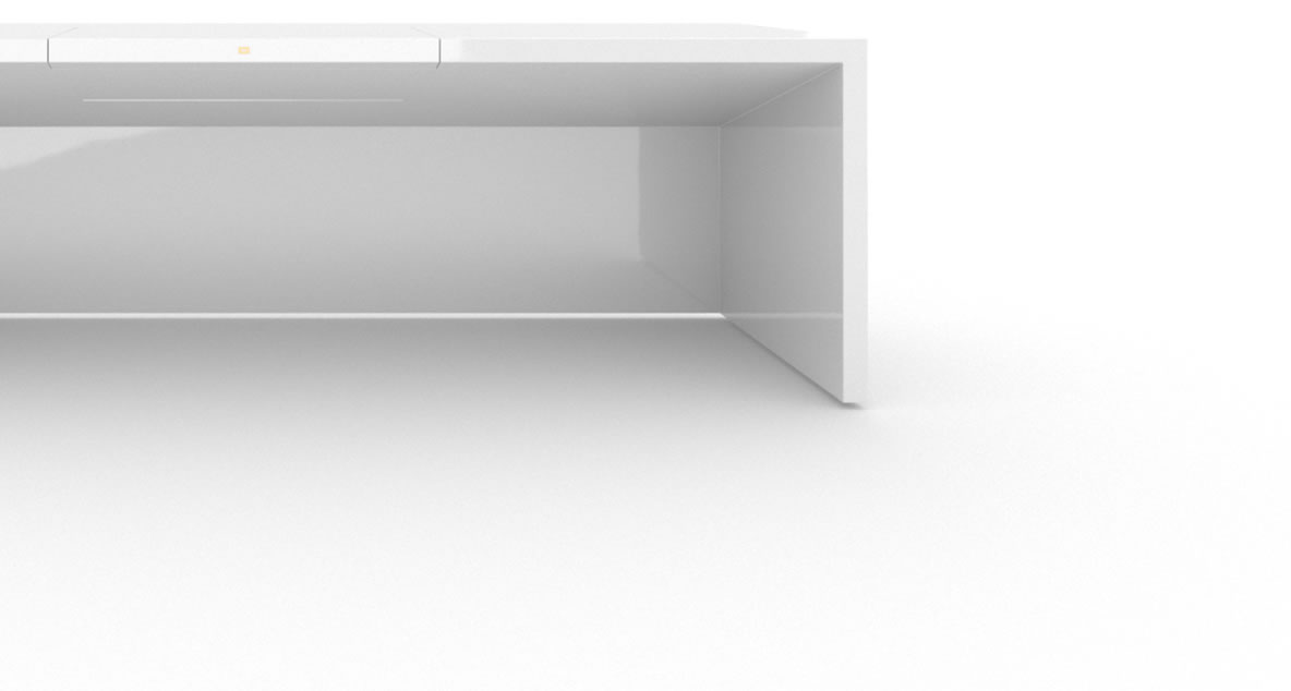 FELIX SCHWAKE DESK II High Gloss White Lacquer Mirror polished Piano Finish Innovation Desk Big with Closed Front