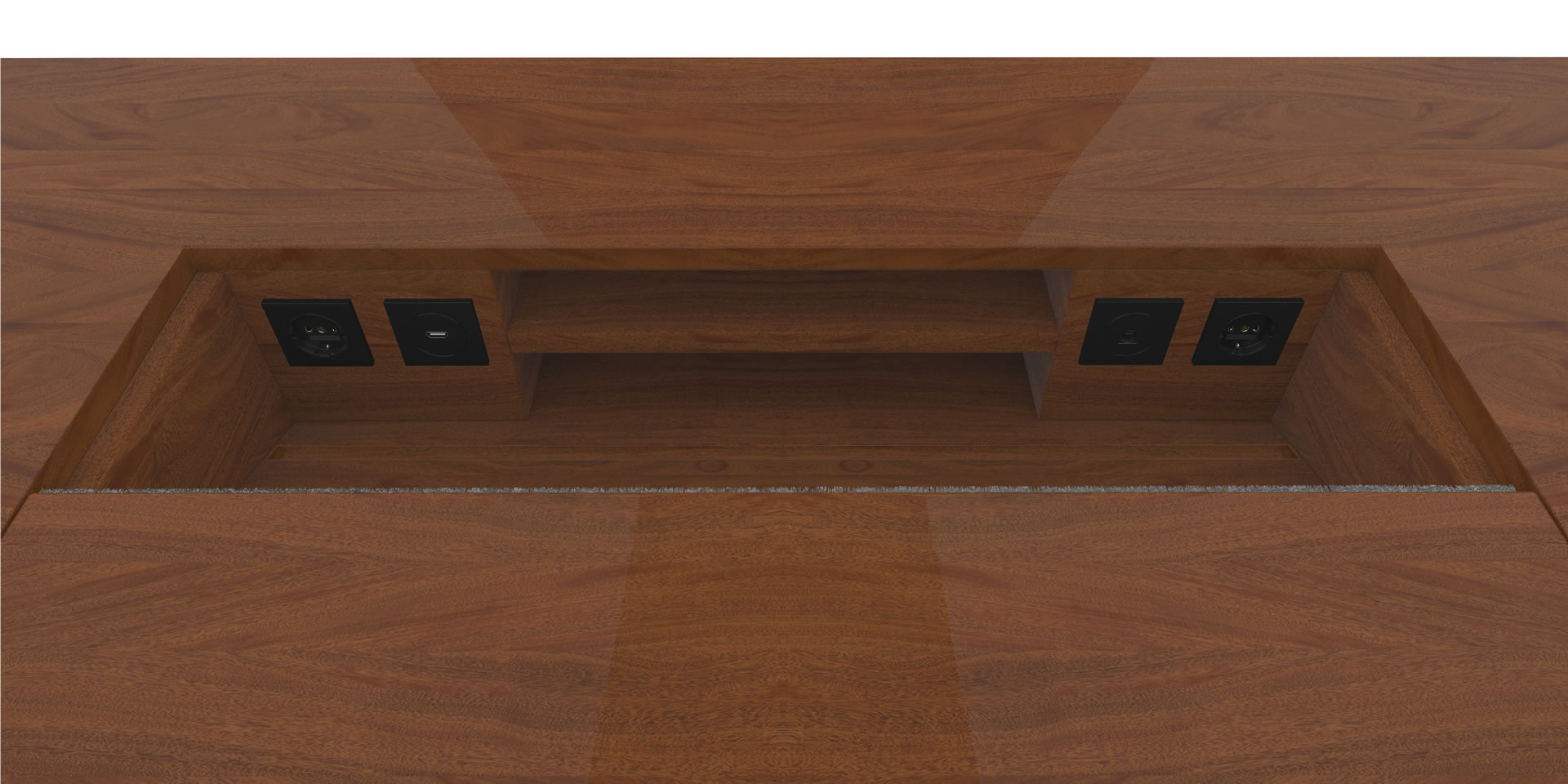 FELIX SCHWAKE DESK II Inside View precious wood mahogany customized bespoke Inside View