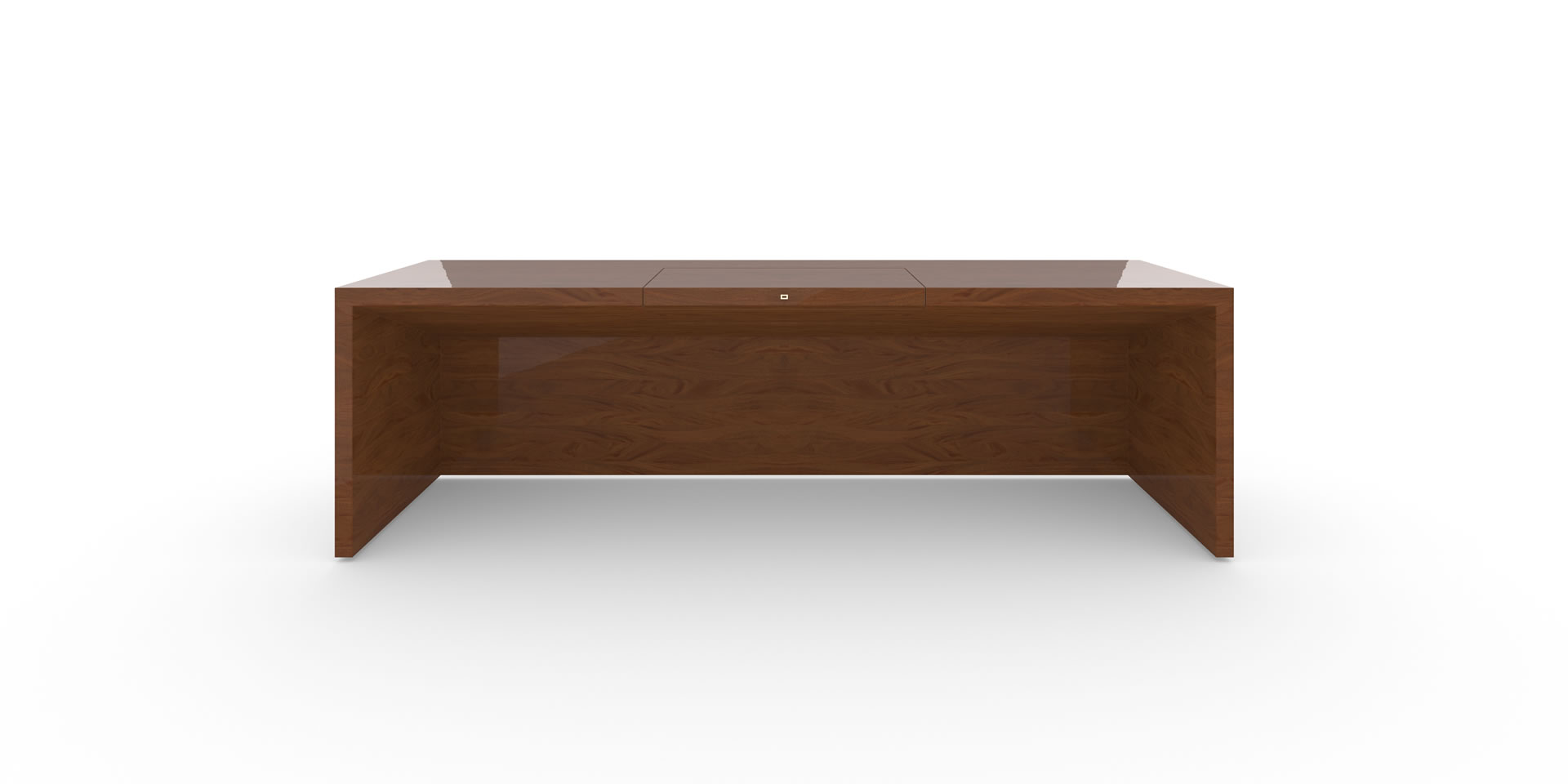 FELIX SCHWAKE DESK II Inside View precious wood mahogany customized bespoke Rueckseite