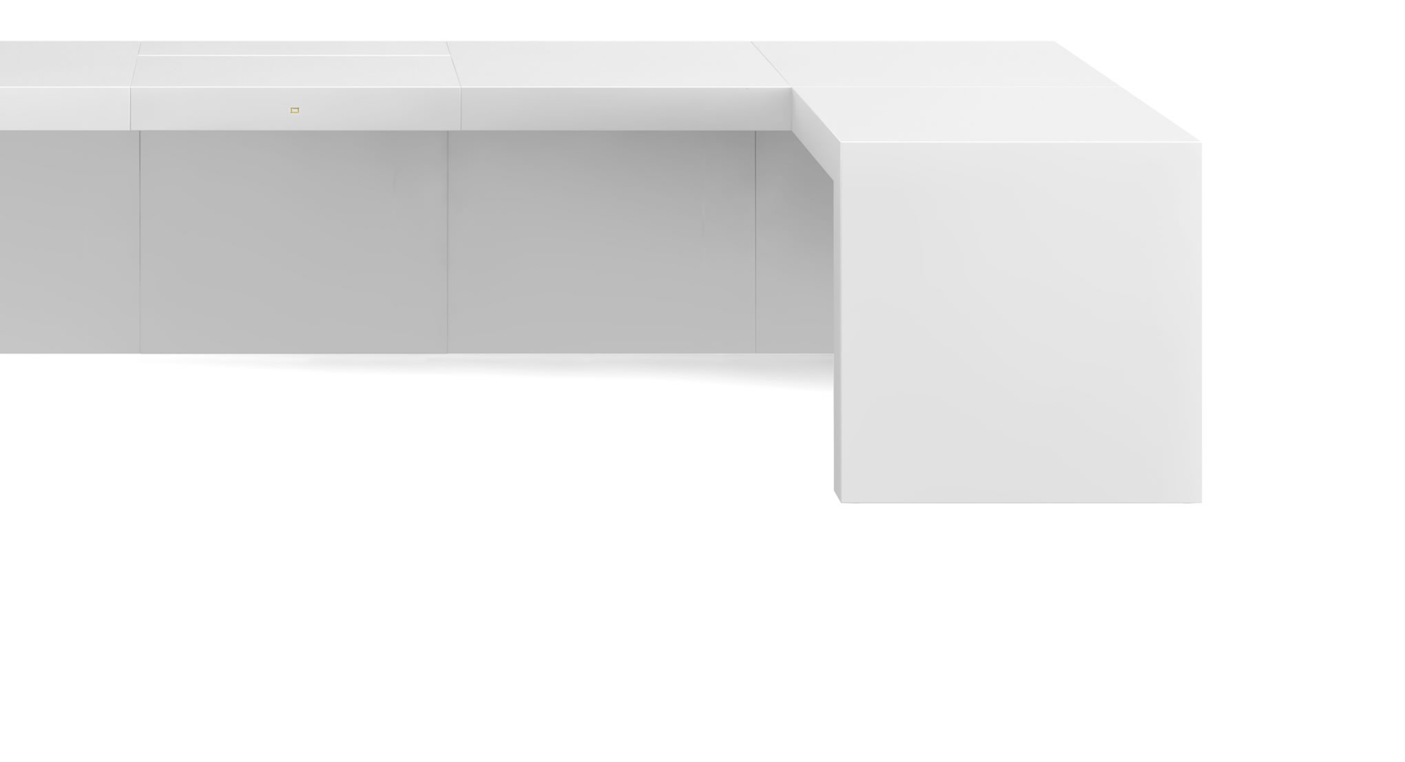 FELIX SCHWAKE DESK III High Gloss White Lacquer Mirror polished Piano Finish Minimalist Office Desk Made of Cubes