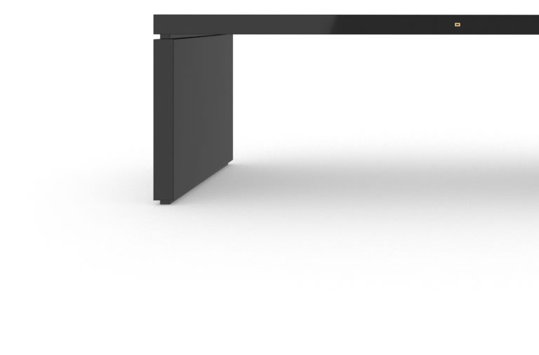 FELIX SCHWAKE DESK IV High Gloss Black Lacquer Mirror polished Piano Finish Tailor Executive Desk