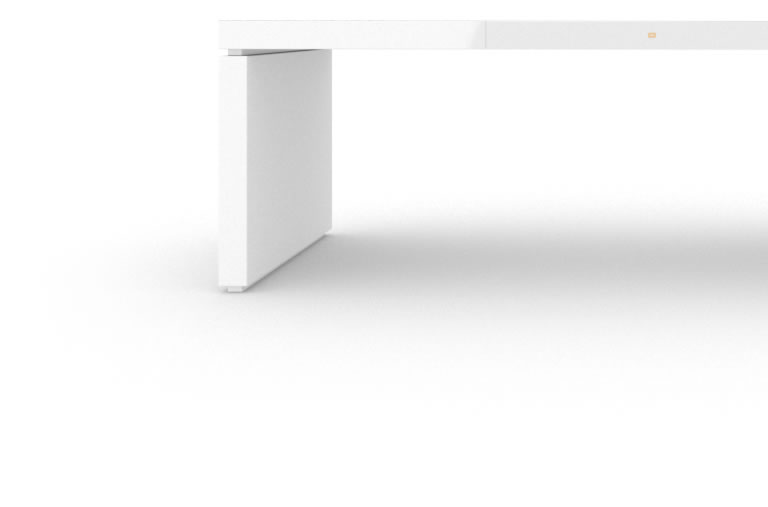 FELIX SCHWAKE DESK IV High Gloss White Lacquer Mirror polished Piano Finish Minimalist Executive Desk