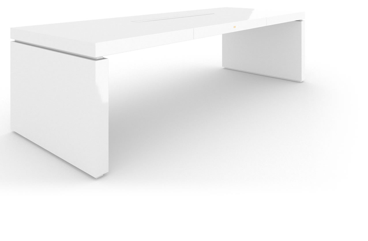 FELIX SCHWAKE DESK IV High Gloss White Lacquer Mirror polished Piano Finish Modern Executive Desk
