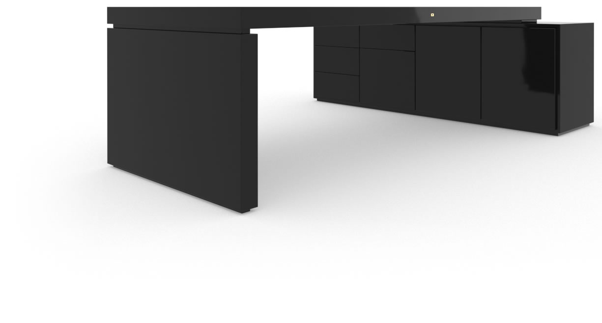 FELIX SCHWAKE DESK IV I 1 Sideboard High Gloss Black Lacquer Mirror polished Piano Finish Tailor Executive Desk with Pull Out Sideboard for PC Printer