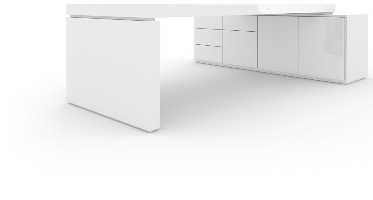 FELIX SCHWAKE DESK IV I 1 Sideboard High Gloss White Lacquer Mirror polished Piano Finish Minimalist Executive Desk with Pull Out Sideboard for PC Printer