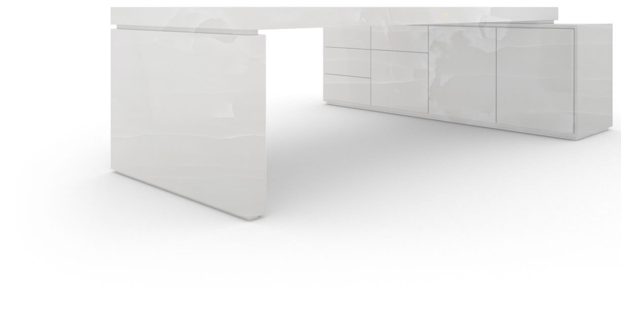 FELIX SCHWAKE DESK IV I 1 sideboard onyx marble white modern chief desk with 1 technology sideboard for pc printer