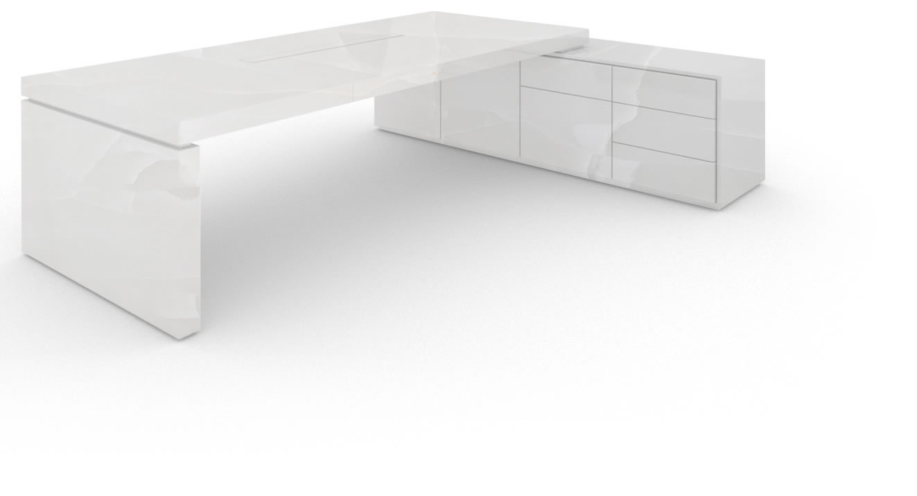 FELIX SCHWAKE DESK IV I 1 sideboard onyx marble white purist chief desk with 1 technology sideboard for pc printer