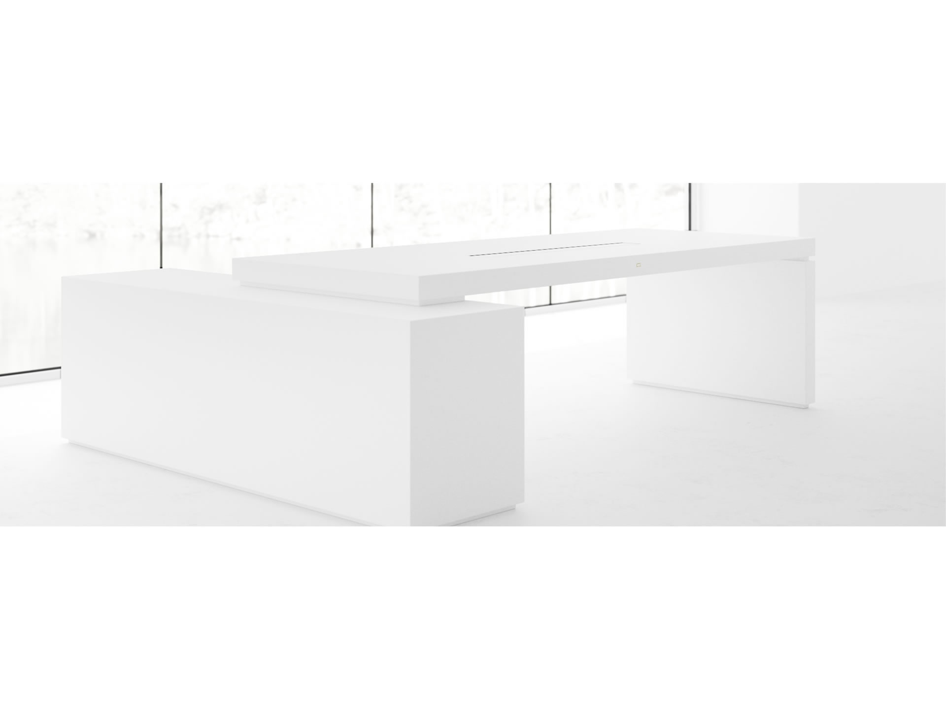 FELIX SCHWAKE DESK IV I Customize White Executive Desk with Pull Out Sideboard for PC Printer