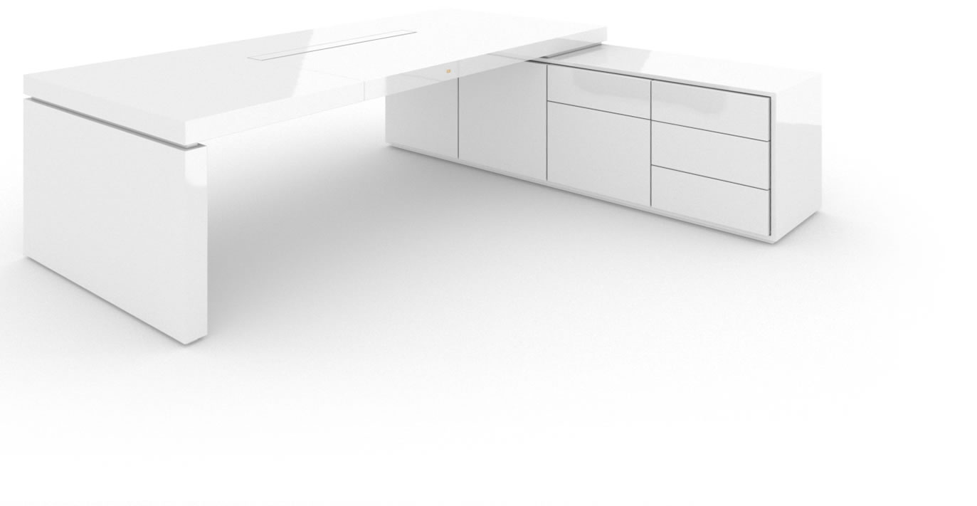 Felix Schwake Desk Iv I 1 Sideboard High Gloss White Lacquer Mirror Polished Piano Finish Modern