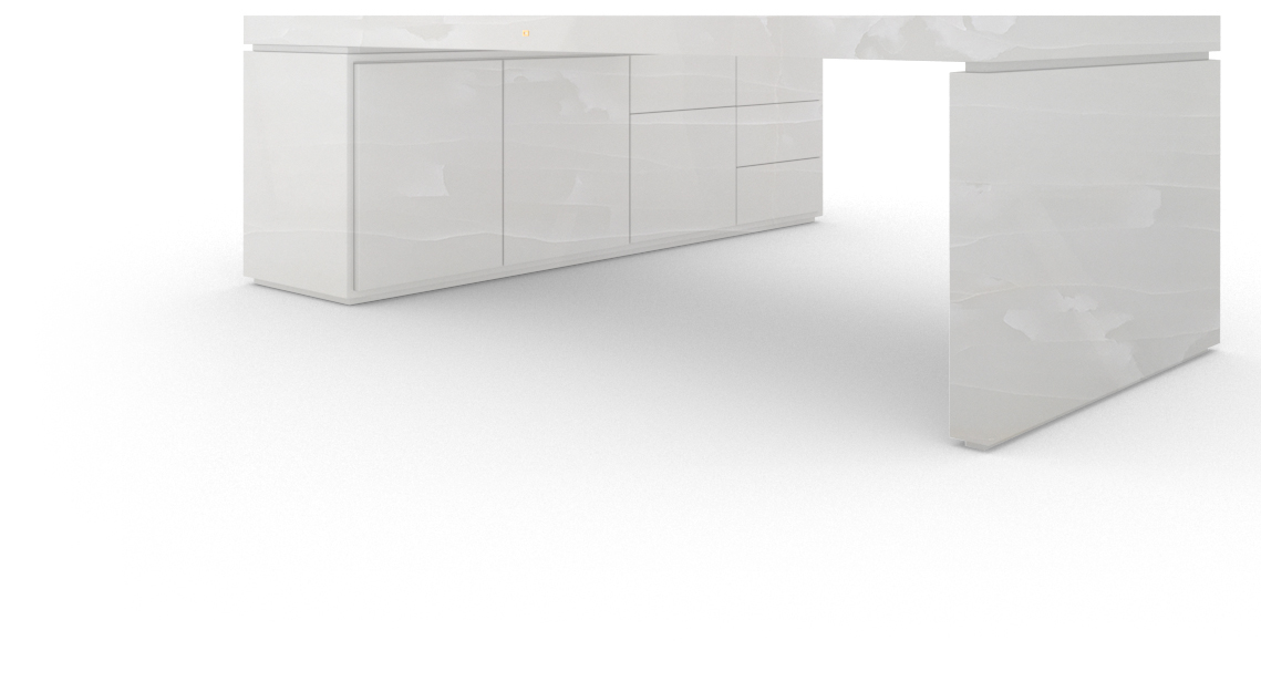 FELIX SCHWAKE DESK IV I I 1 sideboard onyx marble white modern corner desk with 1 technology sideboard for pc printer