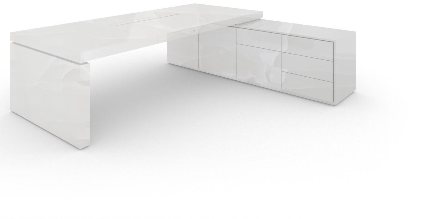 FELIX SCHWAKE DESK IV I I 1 sideboard onyx marble white purist corner desk with 1 technology sideboard for pc printer