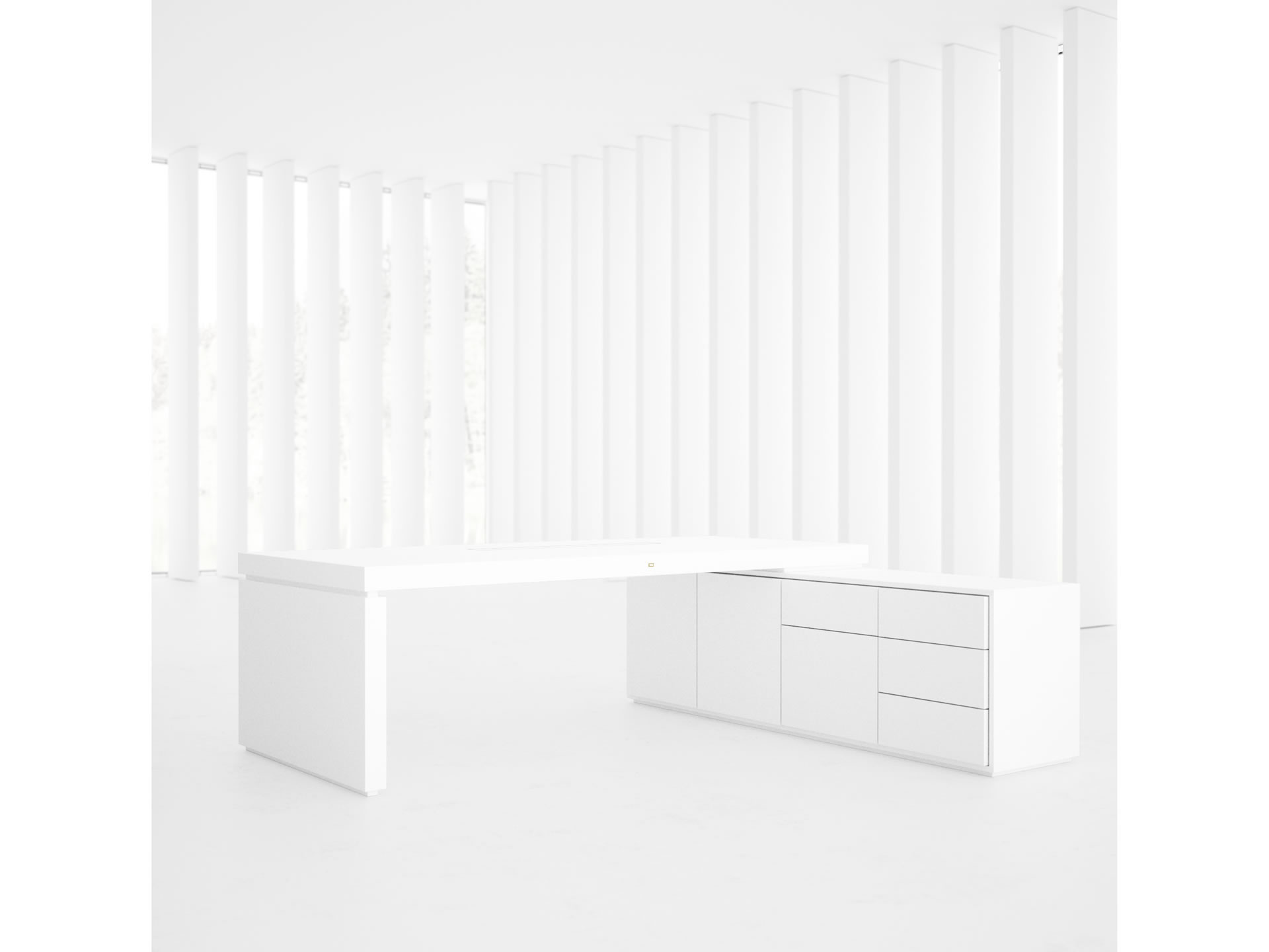 FELIX SCHWAKE DESK IV I I Extraordinary White Corner Desk with Extensible Sideboard for PC Printer