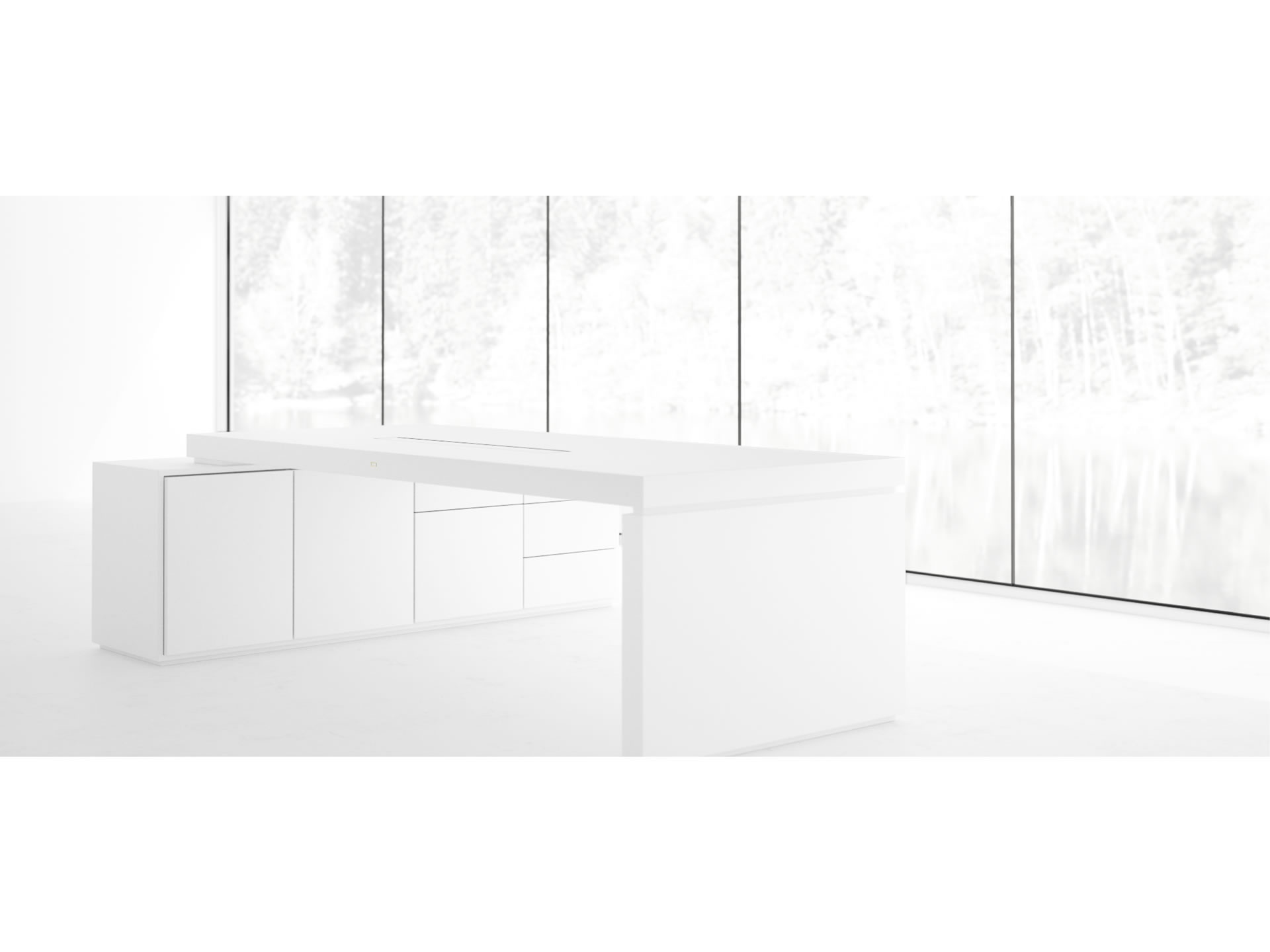 FELIX SCHWAKE DESK IV I Nobel White Executive Desk with Pull Out Sideboard for PC Printer custom built
