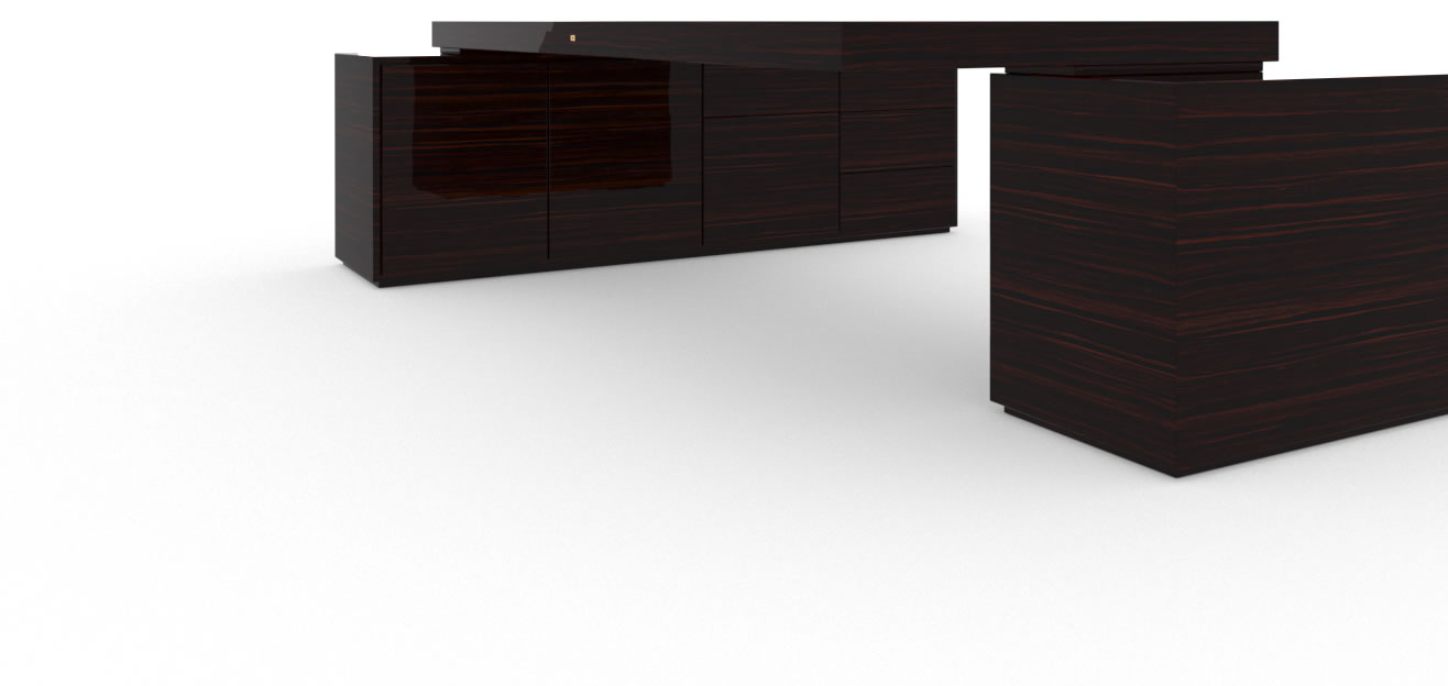 FELIX SCHWAKE DESK IV II 2 Sideboards High Gloss Makassar Ebony Black Precious Wood Mirror Polish Piano Finish Customize Large Desk with Two Sideboards for PC Printer